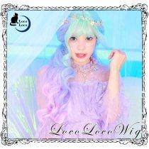 【即納】グラデーションウィッグ  グリーン パープル  ミント 紫色  ロング ゆめかわ ロリータ 耐熱  LocoLoco