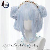 【即納】ウィッグ ライトブルー お団子 ミディアム ウェーブ ゆめかわいい ロリータ 耐熱 LocoLoco