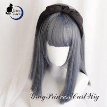 【即納】ウィッグ グレー ネイビー ミックス 青髪 ミディアム  姫カット クール ゆめかわ ロリータ 耐熱 LocoLoco