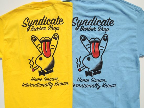 SYNDICATE BARBERSHOP シンジケートバーバーショップ HOME GROWN  S/S T-SHIRTS YEL/SLATE BLUE