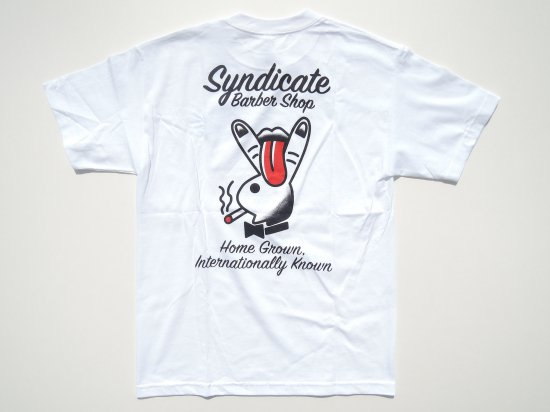 SYNDICATE BARBERSHOP シンジケートバーバーショップ HOME GROWN  S/S T-SHIRTS WHITE