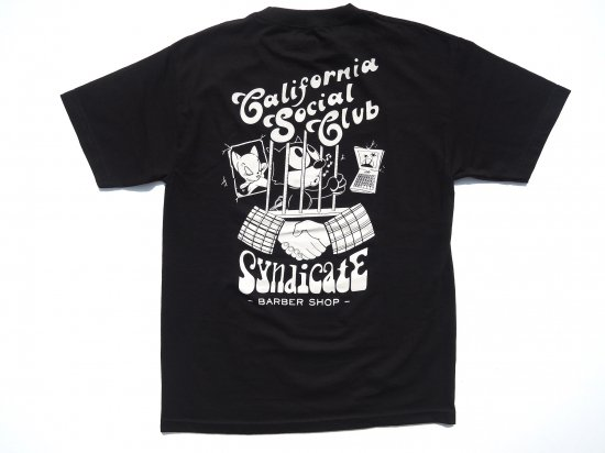 SYNDICATE BARBERSHOP シンジケートバーバーショップ CaliforniaSocialClubコラボ S/S T-SHIRTS BLACK