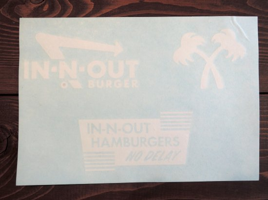 IN-N-OUT BURGER インナウト CAR DECALS  デカール3デザイン WHITE ホワイト