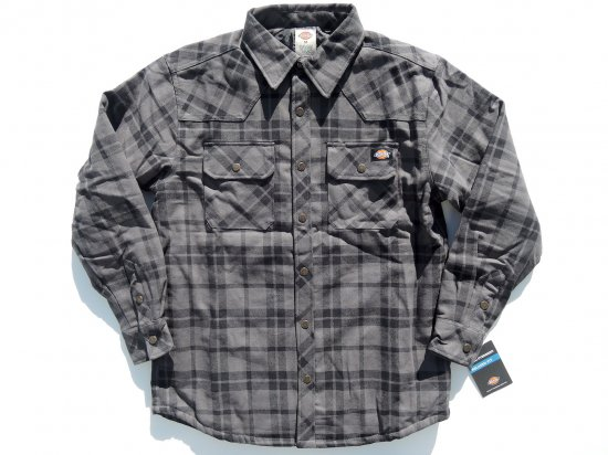 Dickies ディッキーズ #8194 L/S QUILT LINED FLANNEL SHIRT RELAXED FIT チャコールxブラック