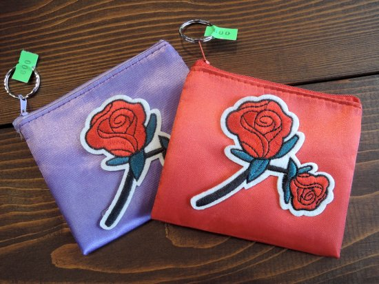 ROSE SATIN POUCH  薔薇 サテンミニポーチ Hecho en Mexico
