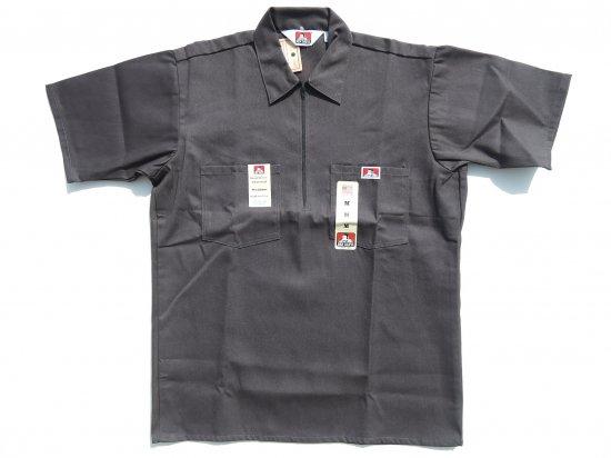 BEN DAVIS ベンデイビス Short Sleeved Solid 1/2 ZIP ハーフジップワークシャツ CHARCOAL