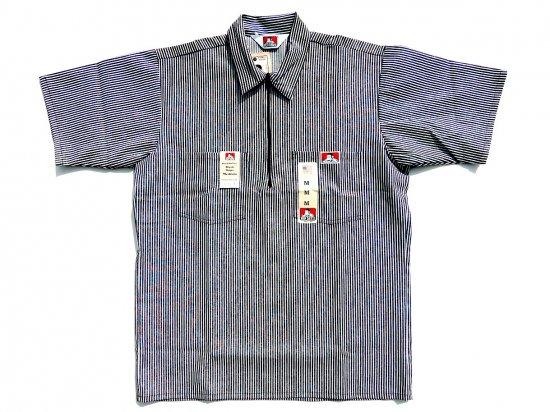BEN DAVIS ベンデイビス Short Sleeved Stripes 1/2 ZIP ハーフジップワークシャツ STRIPE BLACK