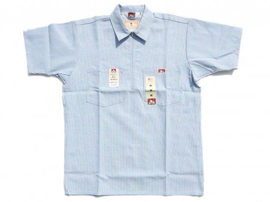 BEN DAVIS ベンデイビス Short Sleeved Stripes 1/2 ZIP ハーフジップワークシャツ STRIPE BLUE