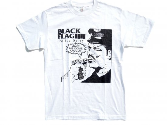 BLACK FLAG  Police Story  S/S T-SHIRT  WHITE  ホワイト