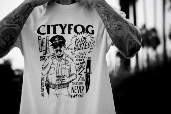 CITY FOG シティフォグ BUSTED  S/S T-shirts Tシャツ WHITE ホワイト