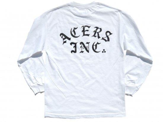 ACERS INC. エーサーズ  3dots logo  ロングスリーブTシャツ  WHITE