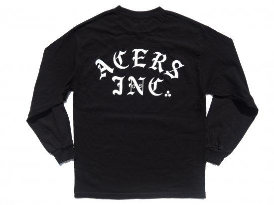 ACERS INC. エーサーズ  3dots logo  ロングスリーブTシャツ  BLACK