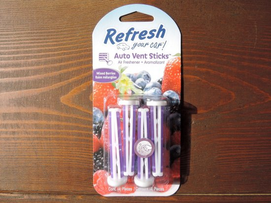 Refresh Your Car! Air Freshener  エアフレッシュナー  AUTO VENT STICK  4PACK    Mixed Berries