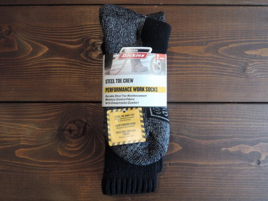 Dickies ディッキーズ   Men's Steel Toe Cushion Performance Work  Socks 2PACK  2足入クルーソックス  BLACK
