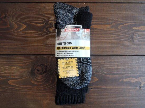 Dickies ディッキーズ   Men's Steel Toe Cushion Performance Work  Socks 2PACK  2足入クルーソックス  BLACK