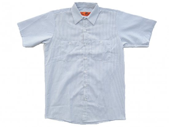 RED KAP  SHORT  SLEEVE  INDUSTRIAL  WORK SHIRT レッドキャップ  半袖ストライプワークシャツ   WHITE/CHARCOAL +カスタムオプション