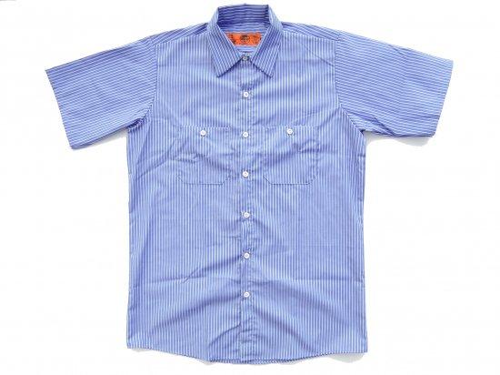 RED KAP  SHORT  SLEEVE  INDUSTRIAL  WORK SHIRT レッドキャップ  半袖ストライプワークシャツ  SP20  BLUE/WHITE +カスタムオプション