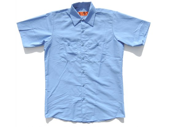 <img class='new_mark_img1' src='https://img.shop-pro.jp/img/new/icons15.gif' style='border:none;display:inline;margin:0px;padding:0px;width:auto;' />RED KAP  SHORT  SLEEVE  INDUSTRIAL  WORK SHIRT レッドキャップ  半袖ワークシャツ  SP24  LIGHT BLUE  +カスタムオプション