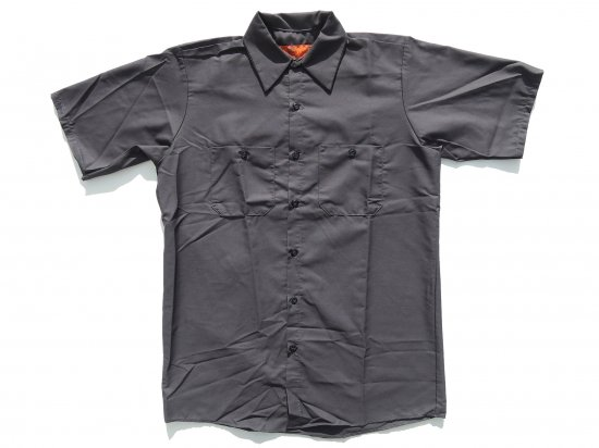 RED KAP  SHORT  SLEEVE  INDUSTRIAL  WORK SHIRT レッドキャップ  半袖ワークシャツ  SP24  CHARCOAL チャコール +カスタムオプション