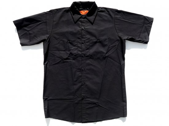 <img class='new_mark_img1' src='https://img.shop-pro.jp/img/new/icons15.gif' style='border:none;display:inline;margin:0px;padding:0px;width:auto;' />RED KAP  SHORT  SLEEVE  INDUSTRIAL  WORK SHIRT レッドキャップ  半袖ワークシャツ  SP24  BLACK  ブラック +カスタムオプション