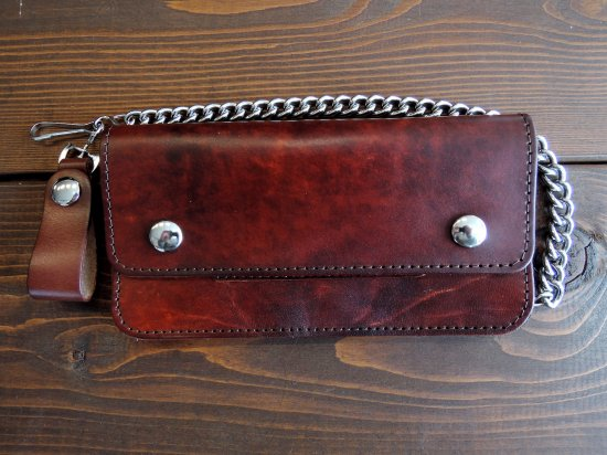 LEATHER  CHAIN WALLET  チェーンつきロングウォレット ブラウン USA製