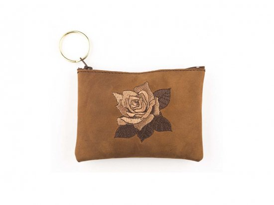 <img class='new_mark_img1' src='//img.shop-pro.jp/img/new/icons15.gif' style='border:none;display:inline;margin:0px;padding:0px;width:auto;' />EMBROIDERED ROSE COIN PURSE  刺繍ローズポーチ CAMEL BROWN  USA製