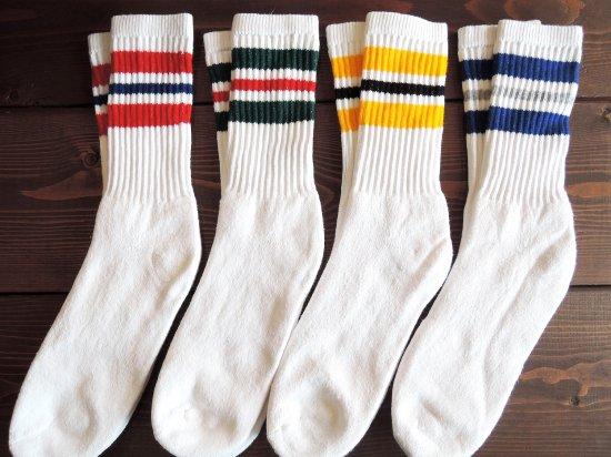 MEN'S  CREW  SOCKS ライン入りクルーソックス  4カラーライン WHITE ホワイト 4足組 赤黄緑青