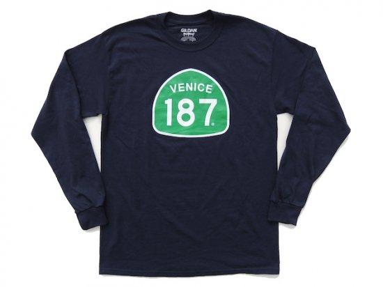 VENICE 187 CLOTHING  ベニス187クロージング  L/S T-SHIRT  ロンT NAVY