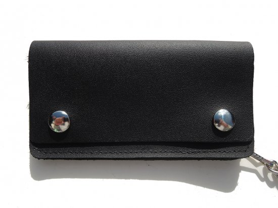 LEATHER  6INCH CHAIN  WALLET  チェーンつき 6インチ ロングウォレット BLACK  USA製