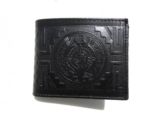 <img class='new_mark_img1' src='https://img.shop-pro.jp/img/new/icons15.gif' style='border:none;display:inline;margin:0px;padding:0px;width:auto;' />LEATHER  WALLET AZTEC CALENDAR  BILLFOLD  レザー アズテックカレンダー お札入れ  Black