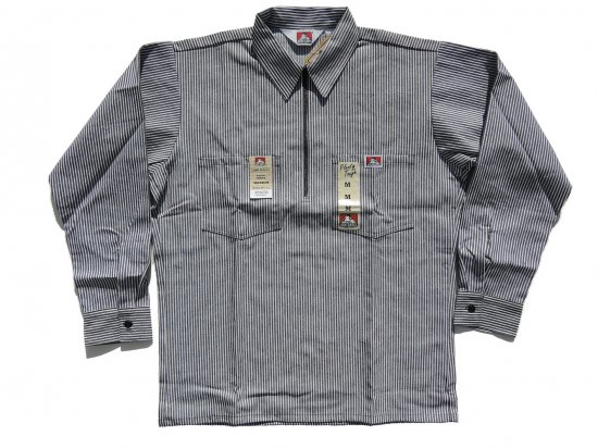 BEN DAVIS ベンデイビス Long  Sleeved Stripes 1/2 ZIP ハーフジップワークシャツ 長袖 1/2 Zip Black Stripes ブラックストライプ