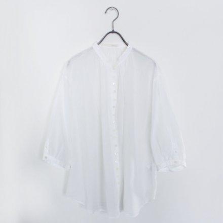 【新色入荷】ループボタン五分袖 薄手ブラウス / オーガニックコットン