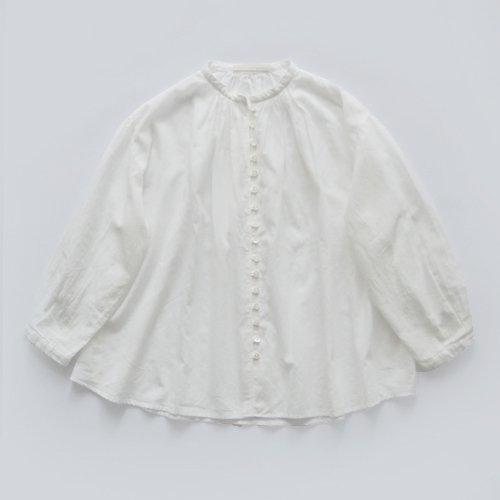 【WEB先行販売】ループボタン9分袖ブラウス / オーガニックコットン