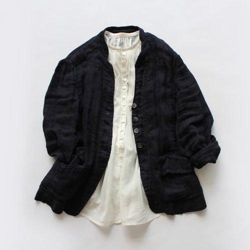【新色入荷】ループボタン7分袖薄手ブラウス / オーガニックコットン