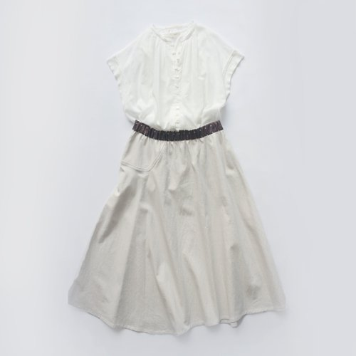 【新色入荷】ループボタンフレンチ袖 薄手ブラウス  / オーガニックコットン