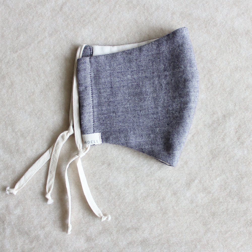 冬のコットンガーゼ 立体マスク(大人用 / ヘリンボーン柄) / オーガニックコットン