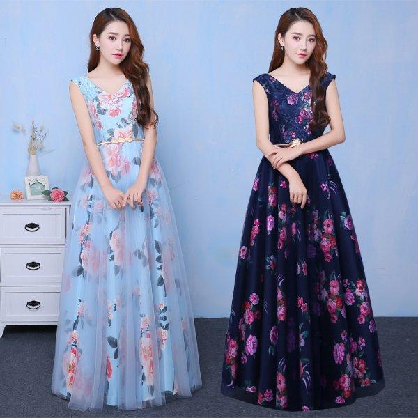 パーティードレス ロングドレス マキシ丈 華やかなフラワープリントが可愛いロング丈ドレス 大きいサイズ 演奏会