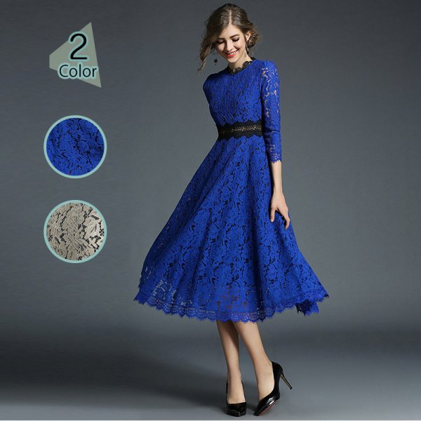 パーティードレス 結婚式 二次会 ワンピース 結婚式ドレス お呼ばれワンピース 20代 30代 40代 袖あり ミモレ丈 ブルー レース 大きいサイズ