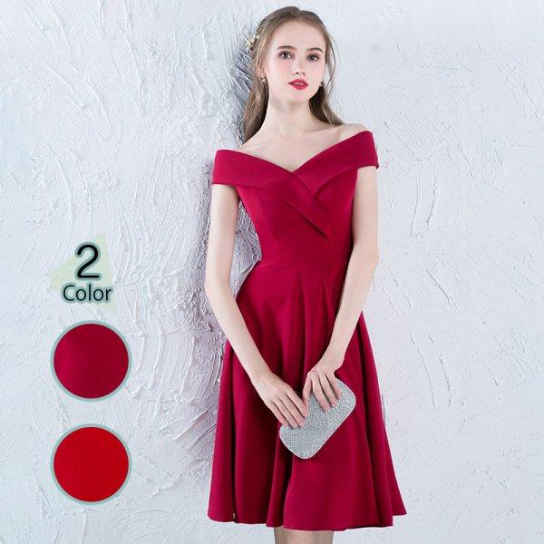 パーティードレス 結婚式 二次会 ワンピース 結婚式ドレス お呼ばれワンピース 20代 30代 40代 ひざ丈 赤 ワインレッド 大きいサイズ