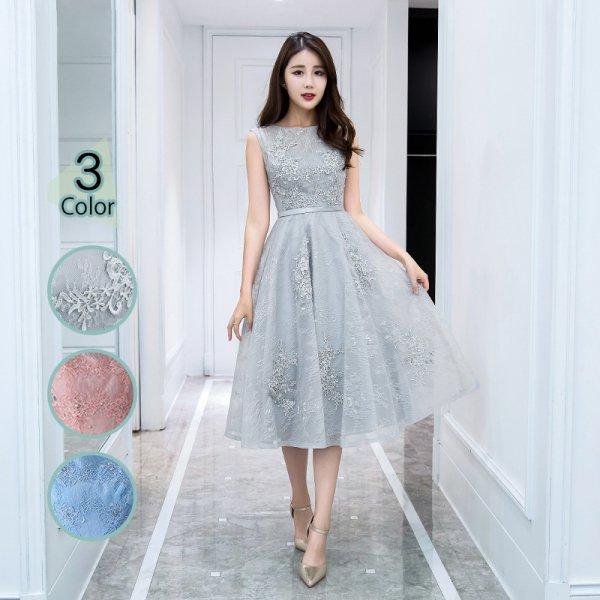 パーティードレス 結婚式 二次会 ワンピース 結婚式ドレス お呼ばれワンピース 20代 30代 40代 ミモレ丈 ピンク レース 花柄 刺繍 大きいサイズ
