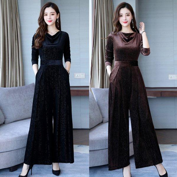 パーティードレス パンツ 結婚式 二次会 パンツドレス 結婚式ドレス お呼ばれドレス 20代 30代 40代 ロングドレス 袖あり 黒 ベロア 大きいサイズ