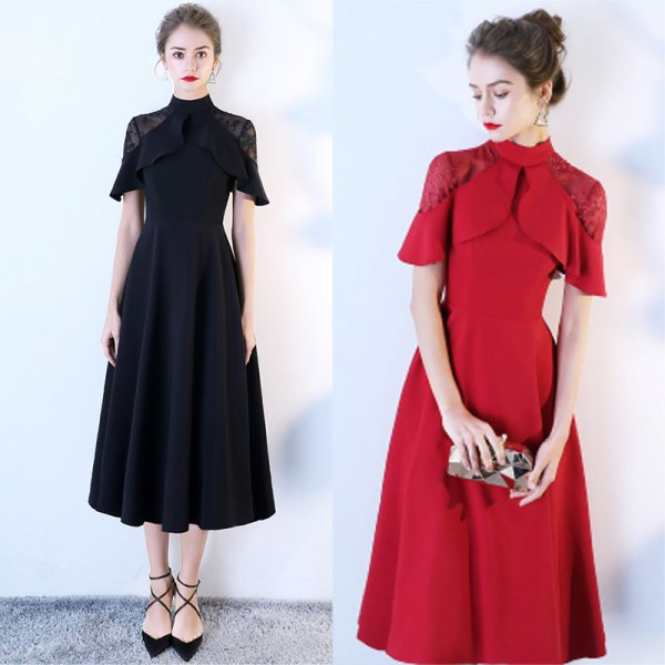 パーティードレス 結婚式 二次会 ワンピース 結婚式ドレス お呼ばれワンピース 20代 30代 40代 袖あり  ミモレ丈 黒 赤 レース 大きいサイズ
