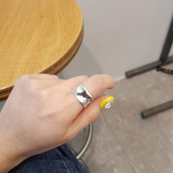 即納 リング 指輪 シルバー925 silver925 ワイドリング 幅広 打ち出し柄 人気 韓国ファッション パーティーアクセサリー オルチャン