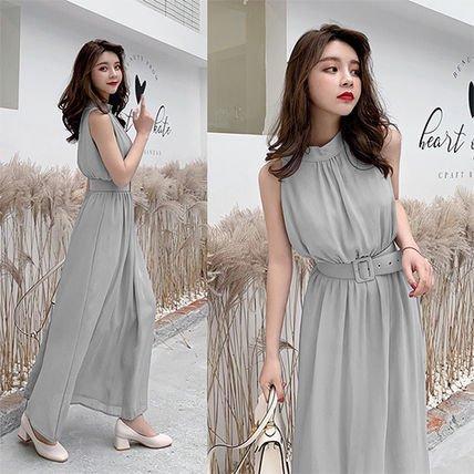 シンプルノースリーブ ロングドレス ベルト付き ブラック グレー