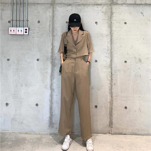 おしゃれ上級者スタイル クロップド丈半袖ジャケット×ロングパンツセットアップ 大きいサイズあり