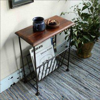 【送料無料】 木製 マガジンラック付きテーブル(シーシャムウッド)