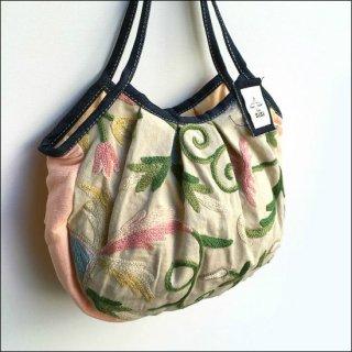 【メール便対応可】 sisi グラニーバッグ カシミール刺繍 定番サイズ ベージュ&カメオ