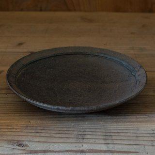 遠藤素子 黒灰釉リム鉢(浅め)