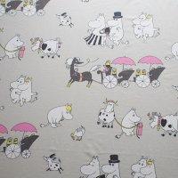 Moomin/ムーミン ファブリック/グレー×ピンク 144×98