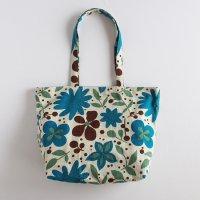 《期間限定値引》渋青のお花模様のリネンショルダーバッグ